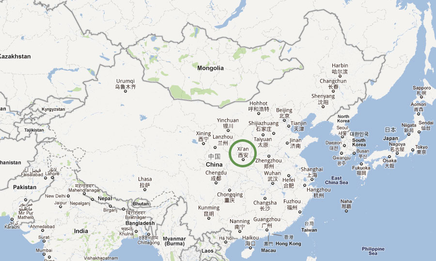 Location of Xi'an Airport in China
