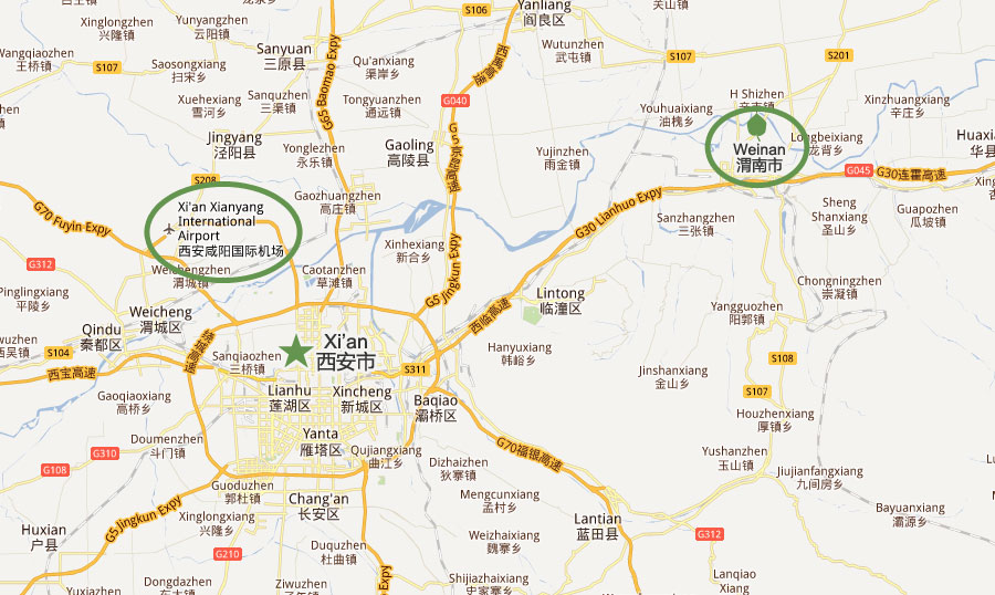 Location of Weinan and Location of Xi'an Airport